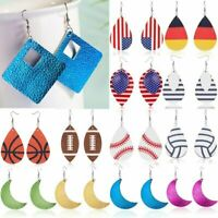 Handmade Boho Geometric Leather Dangle Earrings Hook Teardrop Women Jewelry Gift