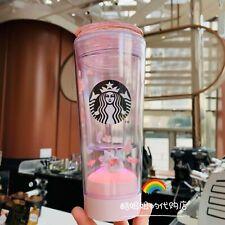 New Starbucks 2020 China Pink Sakura Cherry Blossom Cat Led 10oz Water Bottle