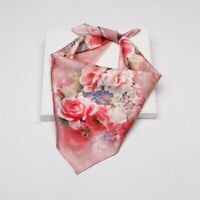 100% Silk Scarf Women Vintage Flower Print Small Kerchief Bandana Tie Band 53cm