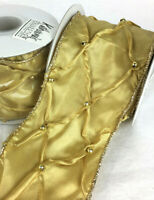 "Katherine's Collection ribbon gold beaded pleated harlequin wired 2.5"" x 3 yds G"