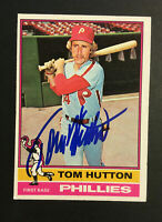 Tom Hutton Phillies signed 1976 Topps baseball card #91 Auto Autograph