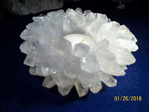 Clear Quartz Lotus tea light candle holder from Brazil