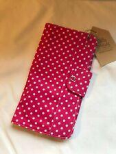 HANDMADE Organiser Travel Passport Wallet Pink Spot Design Fabric BN PU44 UNIQUE