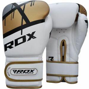 RDX F7 Ego Golden 14oz Boxing Training Gloves White Hook & Loop Men & Women