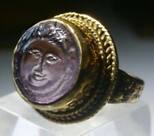 Very Fine 18th Century Silver Gilt Amethyst Cameo Ring –  A Greco / Roman Style