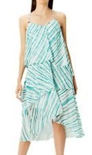 Coast Talla 10 Montego raya vestido de en niveles blancos y verdes con tiras