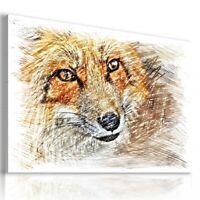 DRAWING FOX Wild Animals PRINT Canvas Wall Art AN332 MATAGA  NO FRAME-ROLLED