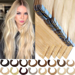 CLEARANCE 20-60pcs Thick Tape In 100% Real Human Hair Extensions Super Glue 150g
