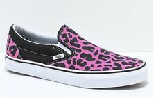 823f74d0cf71 Vans Slip-On Pink   Black Leopard Print Skate Shoes Size Men s 8.5 Women s  10