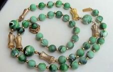 MIRIAM HASKELL Vintage Necklace Green Swirl Art Glass Russian Gold Beads