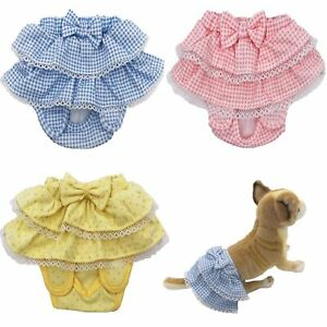 Dog Puppy Diaper Sanitary Pants Female Girl Ruche Skirt 100% COTTON SMALL Pet