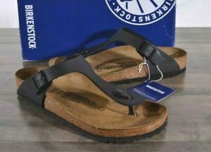 Birkenstock Gizeh Birko-Flor Sandals Thongs 8 Womens Med 39 Shoes Black 0043691