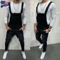 Men's Suspenders Jeans Trousers Overalls Slim Fit Denim Bib Pants Jumpsuits USA