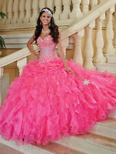 New Beaded Hot Pink Organza Prom Ball Gown Long Quinceanera Dresses for 15 Years
