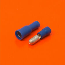 Quality Blue 4mm Bullet Connector Insulated Crimp Electrical Terminals - Audio