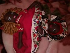 Topsy Turvy Doll Lot # 4 Black Floral/solid mauve Hand made by Ginger Girl