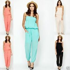 Polyester No Pattern Bandeau Jumpsuits & Playsuits for Women