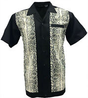 Rockabilly Fashions Crocodile Men's Shirt Retro Vintage Bowling 1950 1960 Black