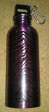 METAL WATER OR DRINK BOTTLE 24 oz WITH CAP AND CLIP; Purple and Black