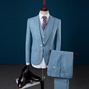 Men's Blue Cotton Linen Groom Tuxedos 3 Piece Suit Formal Wedding Suit Custom