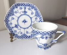 Royal Copenhagen Blue Fluted Full Lace 1036 Gargoyle Cup & Saucer, 1st Qual.