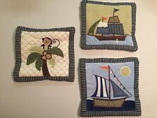 3 Nojo Ahoy Mate Pirate Ships Monkey Baby Nursery Wall Hanging Decor Blue VGUC