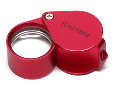 Jewelers Loupe Magnifier Magnifying Glass 10X Handheld Folding Aluminum 21mm Red
