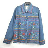 Coldwater Creek Womens Plus Size Denim Button Front Jean Jacket Floral Emb 1X