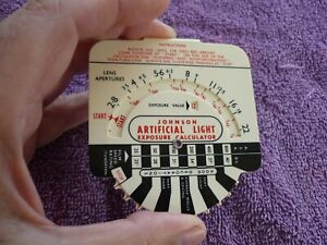 Johnsons Artificial light calculator, vintage 1950s photographic collectable.