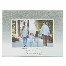Glass 5'x3.5' Photo Frame with Glitter and Mirror Letters - Family