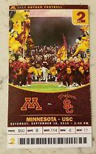 Minnesota Gophers USC Trojans Football Ticket 9/18 2010 Stub Southern California
