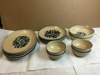 Vintage Pfaltzgraff Folk Art Pottery Dinnerware Brown Set of 14