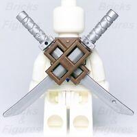 Ninjago LEGO® Dark Brown Ninja Scabbard & 2 x Flat Silver Katana Swords Genuine