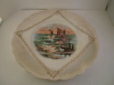 Vintage Unmarked Handkerchief Decorative Plate Ships Sailboats Boats
