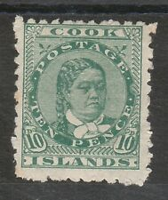 COOK ISLANDS 1902 QUEEN 10D WMK STAR NZ SIDEWAYS PERF 11