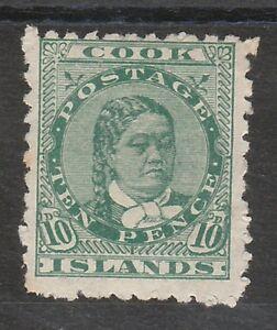COOK ISLANDS 1902 QUEEN 10D WMK STAR NZ SIDEWAYS PERF 11