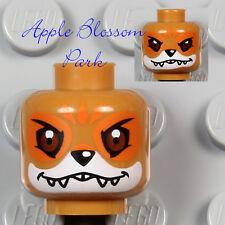 NEW Lego Animal MEDIUM DARK FLESH MINIFIG HEAD - Chima Furty Fox Monster Fangs