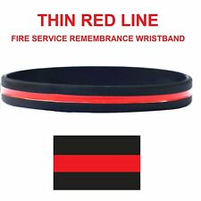 Thin Red Line Fire Service Remembrance Silicon Wristband - Adult Size -UK Seller