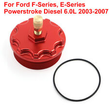 Billet Aluminum Fuel Filter Cap For 2003-2007 Ford Powerstroke Diesel 6.0L Red