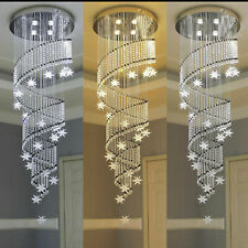 Modern K9 Crystal Chandelier Rain Drop Spiral Ceiling Light Led Pendant Lamp