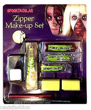 Cremallera De Halloween Maquillaje Kit de Pintura Cara Zombie Diablo Vampiro Gótico Rojo de la sangre