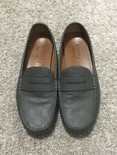 $550 Gucci GG Grey Leather Moccasins Guccissima Loafers Drivers Mens UK8.5 US9.5