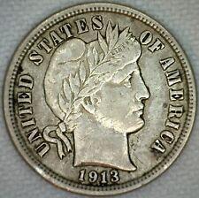 1913 Silver Barber Dime 10 Cent US Coin 10c XF Extra Fine Philadelphia K38