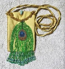 "Peacock Feather Shoulder Bag 5"" x 6"" Boho Hippie ~ Gemstone & Glass Bead Fringe"