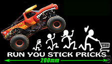 MY STICK FIGURE YOUR FAMILY FUNNY STICKER MONSTER TRUCK 4X4 UTE 4WD WAGON DECAL