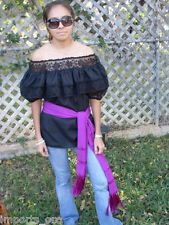 ASSORTED COLORS GYPSY PEASANT BLOUSE LACE MEXICAN GIPSY ONE SIZE FITS ALL