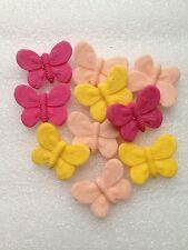 Edible fondant icing  butterflies - cake topper peach/pink/yellow x 10