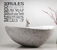 BATHROOM RULES VINYL WALL DECAL LETTERING BATH WORDS BATHROOM BATH COLLAGE