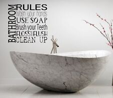 BATHROOM RULES LETTERING BATH WORDS BATHROOM VINYL DECOR DECAL WALL ART