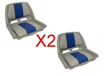 Foulding Moulded Padded Boat Seat Grey Grey/Blue x 2  ** NEW